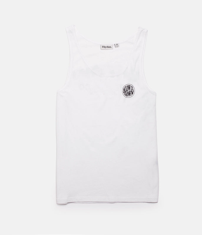 SLOW DOWN SINGLET WHITE