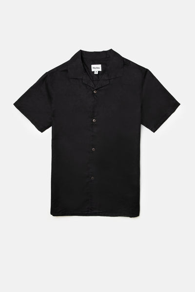 Linen Cuban Ss Shirt Black