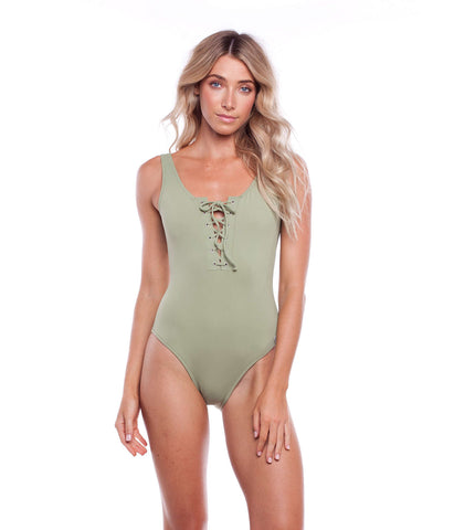SUNCHASER LACE UP ONE PIECE PALM
