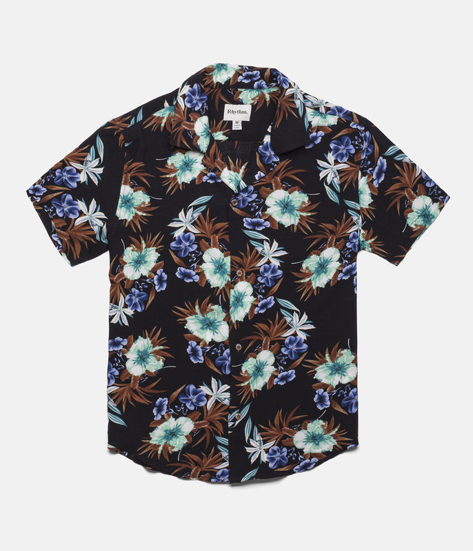 BEACH FLORAL SS SHIRT VINTAGE BLACK