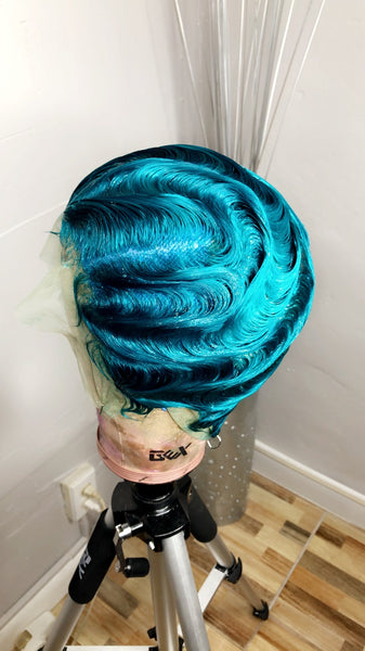 Trina Vintage Style Custom Full Lace Wig| Custom Color| Best Women Wig| Turquoise