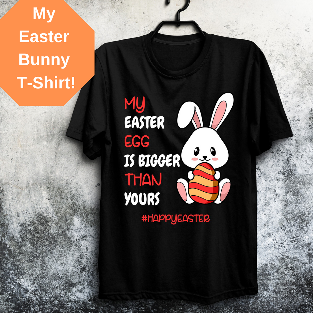 Easter Bunny Women's T-Shirt Short-Sleeve Unisex T-Shirt| Black Easter T-Shirt| Blue T-Shirt| Easter 2019