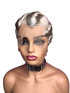 Custom Made 13x6 Lace Front Finger Wave Wig-Ash Blonde