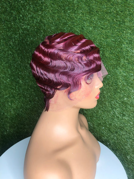 Red Wine Finger Wave Wig /Full Lace