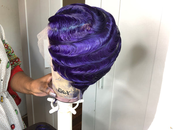 Raven Lace Front Finger Wave Custom Wig