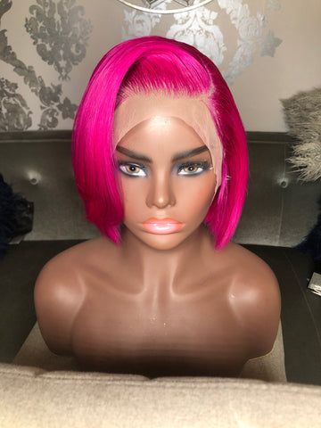 "10"" Hot Pink Bob Lace Front Wig"