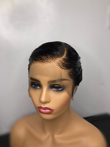 Full Lace Part to the side boy-cut Wig