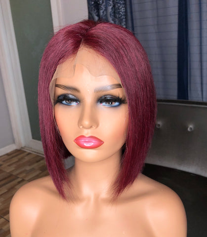 "Burgundy 12"" Lace Front Bob Wig"