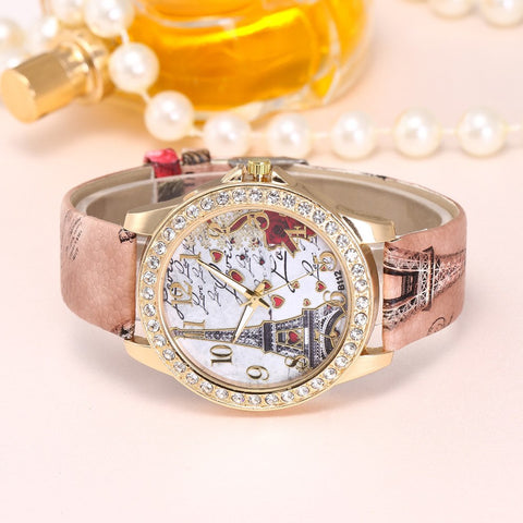 Sexy Madame Vintage Paris Eiffel Tower Women Fashion Watch Crystal Leather Quartz