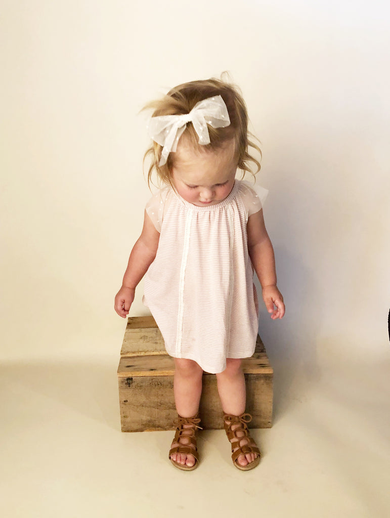 Brynlee Dress and Bloomers in Blush Stripe