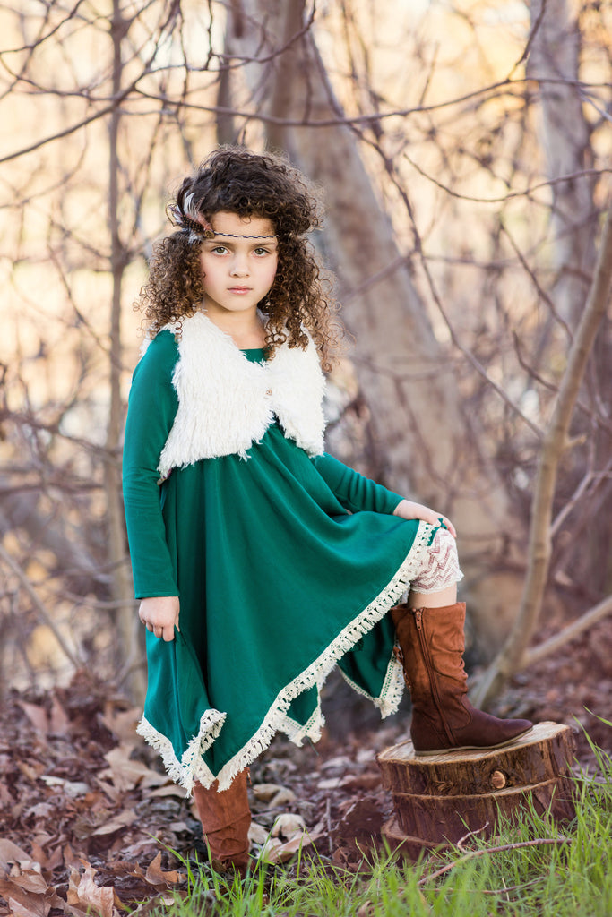 Fringed Flare Dress in Emerald