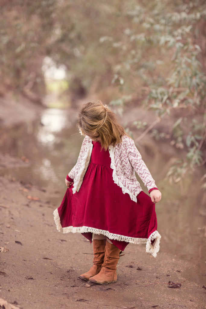 Fringed Flare Dress in Burgundy