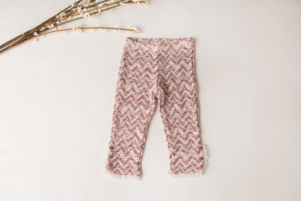 Button Fringe Legging in Burgundy
