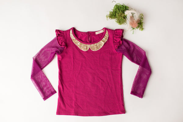 Shimmer Top in Berry