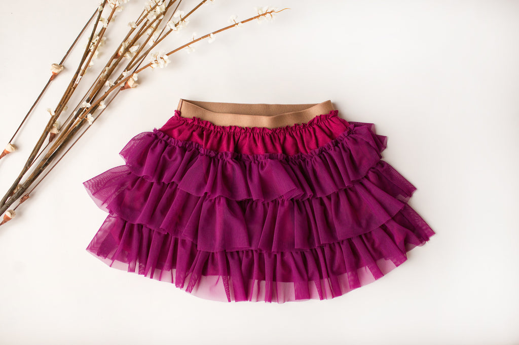 Ruffle Tulle Tutu in Berry