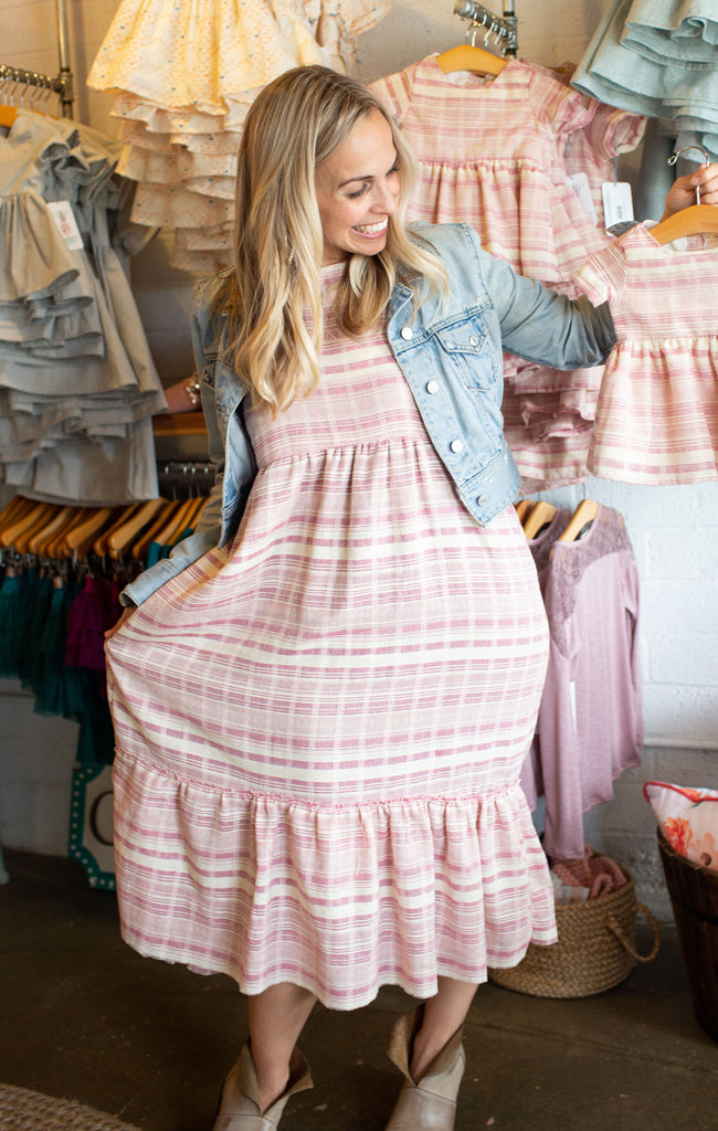 Liz Dress in Boho Coral Stripe