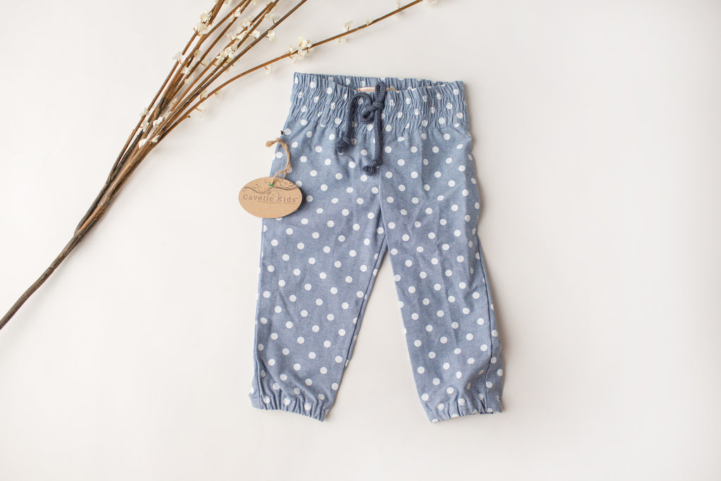 Cozy Print Joggers in Blue Dot