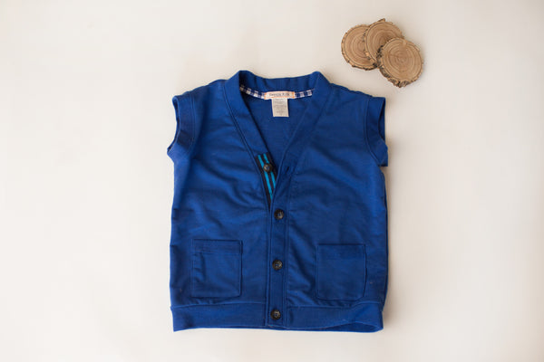 Stripe Ribbon Vest in Royal Blue