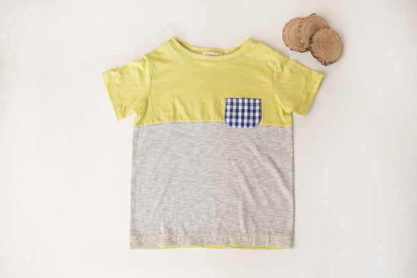 Pocket Tee in Citron in Gray/Citron
