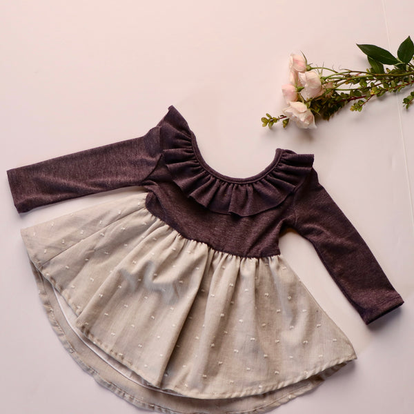 Caroline Dress in Heather Purple ~ Baby