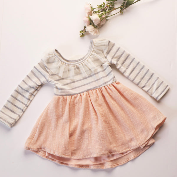 Caroline Dress in Grey Stripe ~ Baby