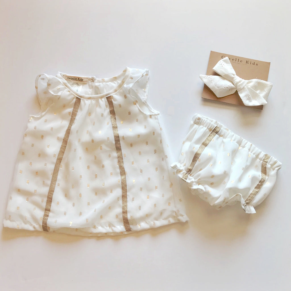 Brynlee Dress and Bloomers in Gold Dot