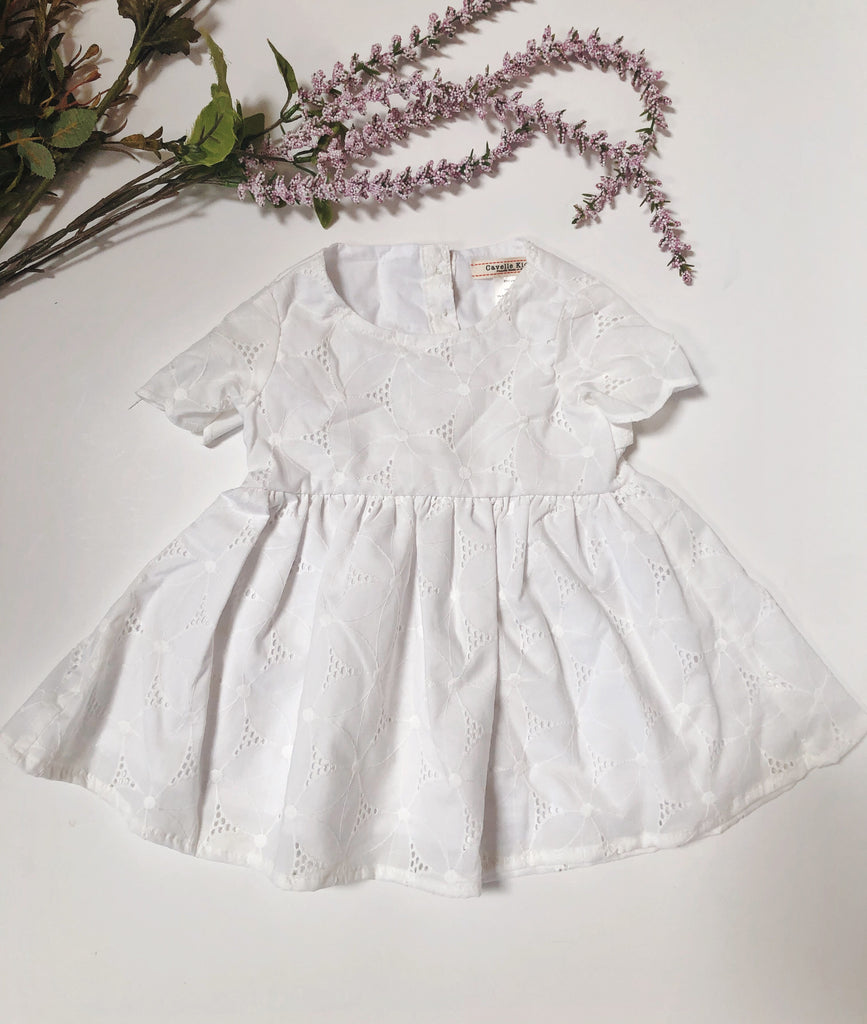 Emmy Dress in White Eyelet ~ Baby