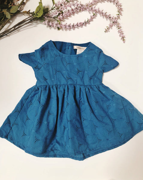 Emmy Dress in Blue Eyelet ~ Baby