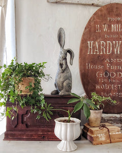 Styling for Spring using thrift store finds, greenery and antiques..