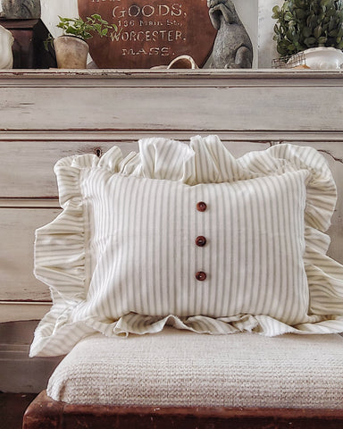sage green ticking stripe ruffled pillow perfect for spring home decor