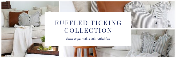 ruffled ticking pillow collection, classic stripes with a ruffled flair