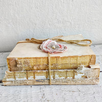 Vintage Book Stack with Handmade Fabric Flower