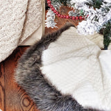 Quilted Tree Skirt with Gorgeous Gray Fur Trim