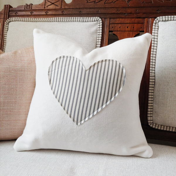 f0c9569c71ef Luxuriously Soft Fleece Pillow Cover with Gray Ticking Stripe Heart ...