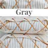 Lace-Up Ticking Pillow Cover