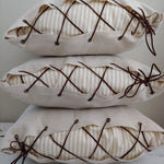 Lace-Up Ticking Pillow Cover - Tan