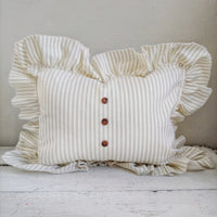 Ruffled Sage Green Ticking Striped Pillow