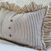 Ruffled Navy Ticking Striped Pillow