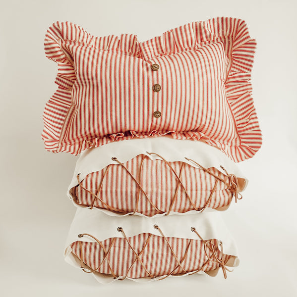 Ticking Pillow Bundle - Red