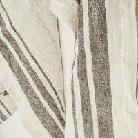 linen tea towels with black stripes, closeup