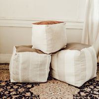 Antique Grain Sack Pouf 14x14