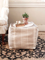 Striped linen square pouf