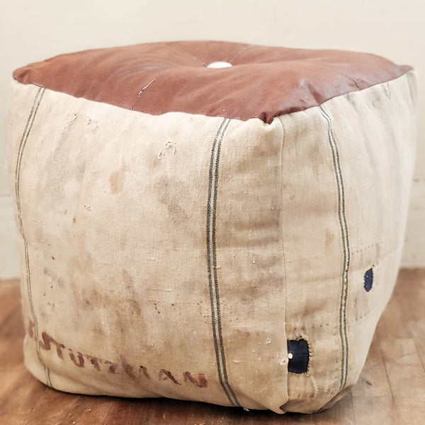 Antique Grain Sack Rustic Pouf 22x22