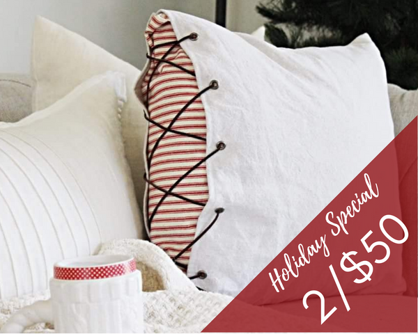 HOLIDAY SALE! Lace-Up Ticking Pillow Covers