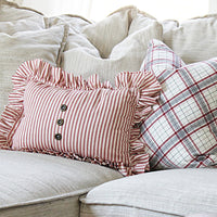 Ruffled Red Ticking Striped Pillow