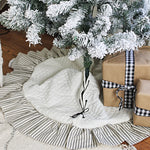 Quilted Tree Skirt with Black Ticking Stripe Ruffle