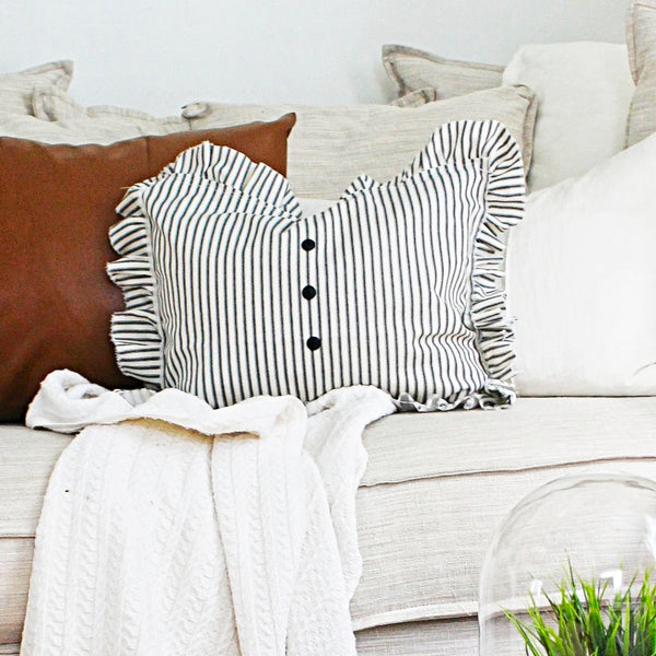 Ruffled Black Ticking Striped Pillow