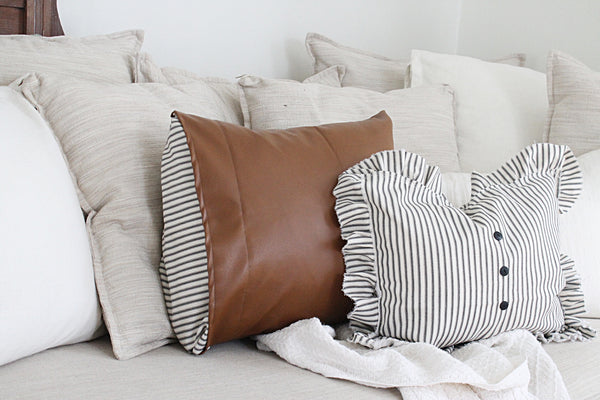Leather and Ticking Stripe Pillow Cover