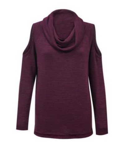 COLD SHOULDER COWL NECK TOP