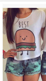 Burger and Fries Best Friends Crop Top T Shirts - Your Weekend Wardrobe